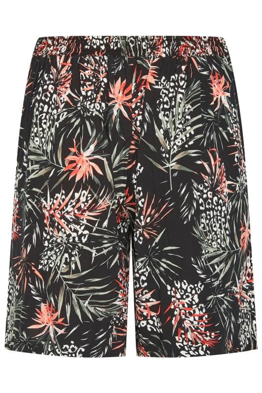 Black Woven Palm Print Shorts