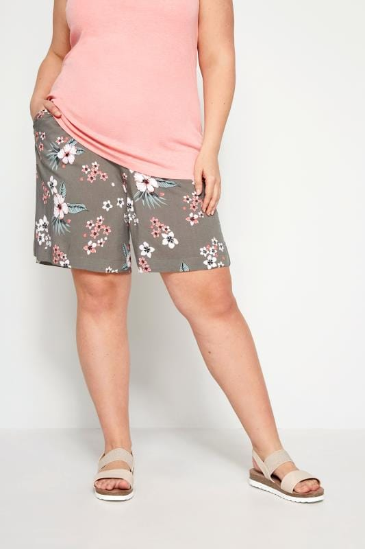 Plus Size Fashion Shorts Khaki Woven Tropical Shorts