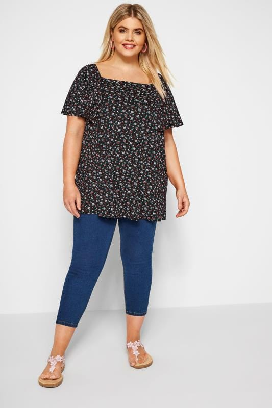 Black Ditsy Floral Square Neck Top