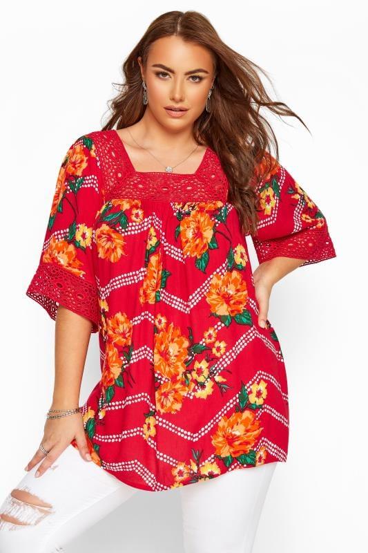 Plus Size Floral Tops Pink Floral Chevron Print Crochet Blouse