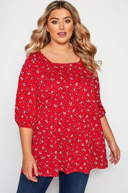 Red Ditsy Floral Print Square Neck Top