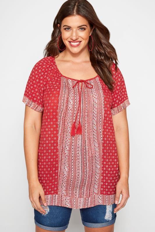 Große Größen Hippie Bluse Tunika mit Azteken-Muster - Rot
