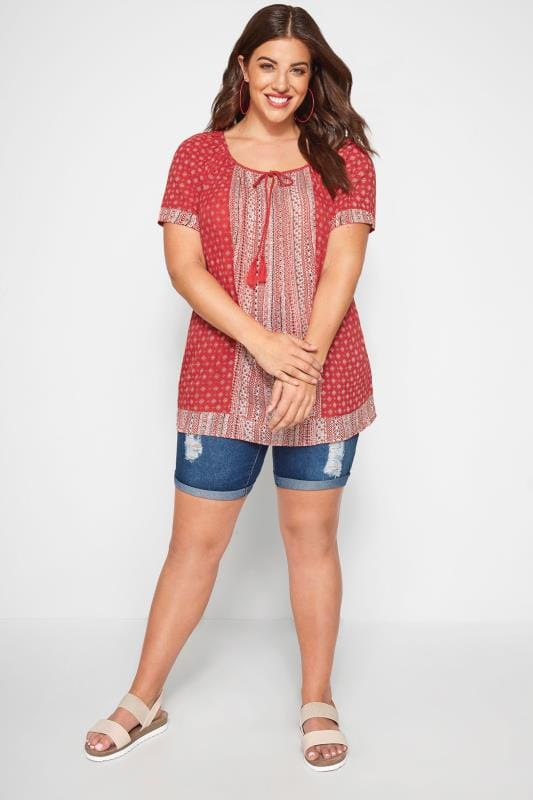 Red Aztec Print Gypsy Top