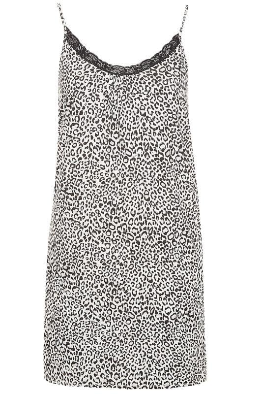Nachthemd mit Glitzer-Leo-Muster - Schwarz/Weiß