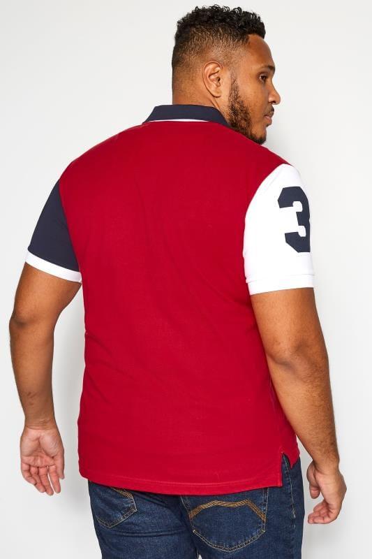 BadRhino Red Colour Block Polo Shirt