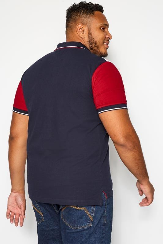 BadRhino Navy & White Colour Block Polo Shirt