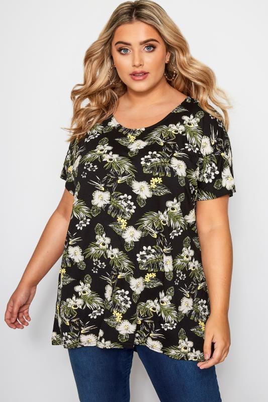 Black Floral Leaf Print T-Shirt