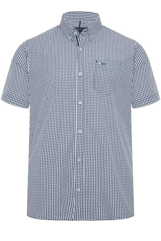 Men's Casual Shirts BadRhino Navy Short Sleeve Gingham Shirt