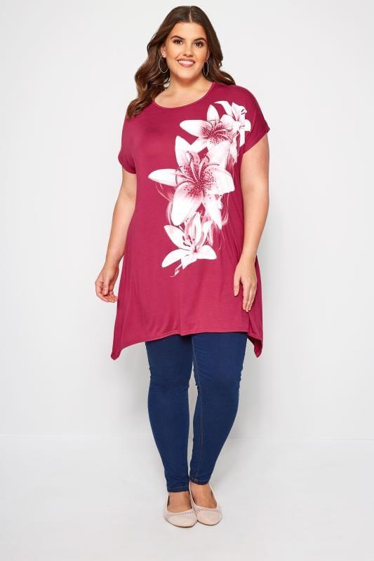 Dark Pink Lily Hanky Hem T-Shirt