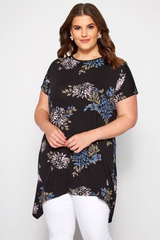 Black Floral Hanky Hem T-Shirt