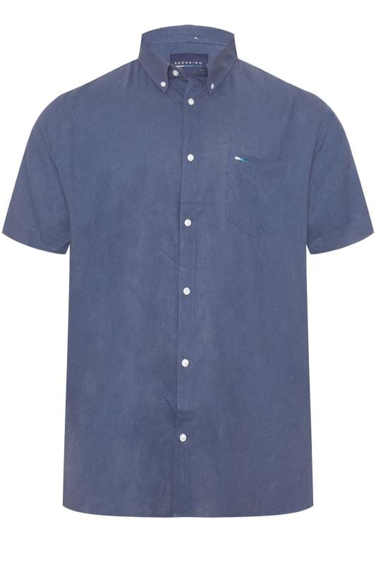 Casual Shirts BadRhino Blue Linen Shirt 201292
