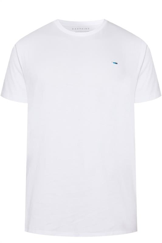 Men's T-Shirts BadRhino Plain White Crew Neck T-Shirt