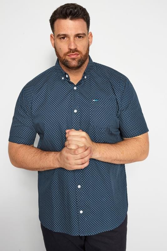 Plus Size Smart Shirts BadRhino Navy Printed Shirt