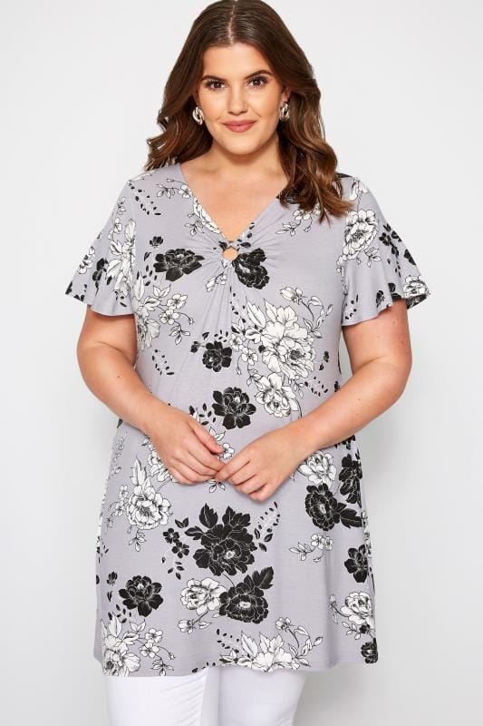 Plus Size Smart Jersey Tops Grey Floral Ring Detail Top