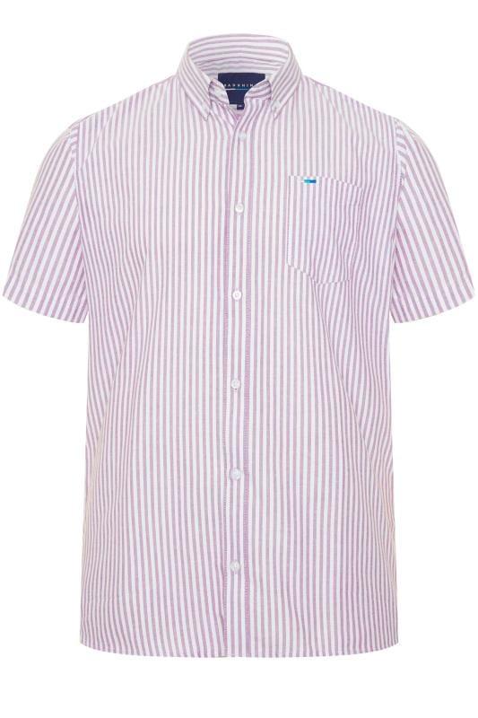 Casual Shirts BadRhino Lilac Striped Short Sleeved Oxford Shirt 201289