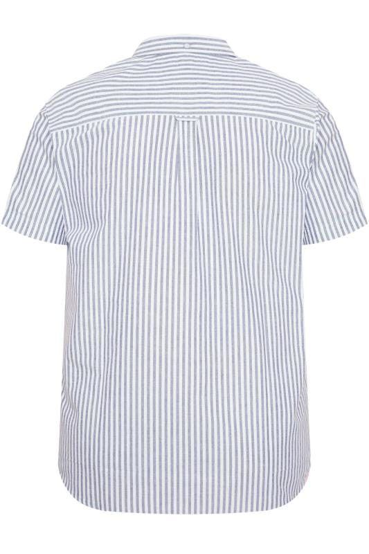 BadRhino Blue Striped Short Sleeved Oxford Shirt_40e5.jpg