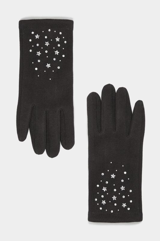 Handschuhe mit Stern-Verzierung - Schwarz