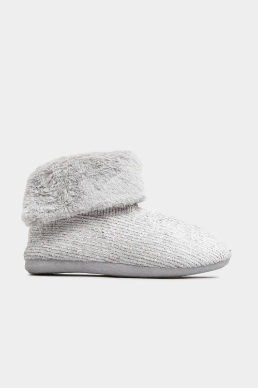 Grey Diamante Gem Knitted Slipper Boot In Wide Fit