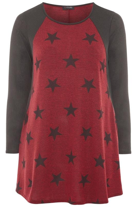 Plus Size Longline Tops Burgundy Marl Star Print Longline Top
