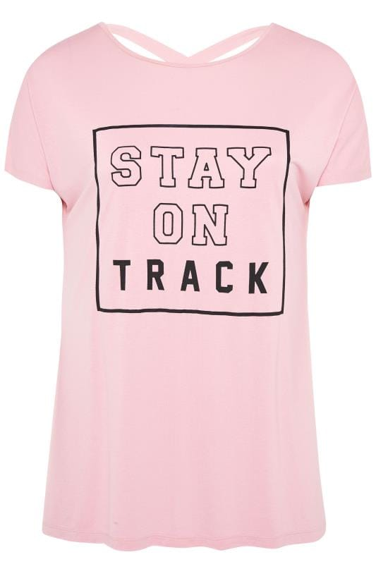ACTIVE Pink Cross Back Slogan T-Shirt