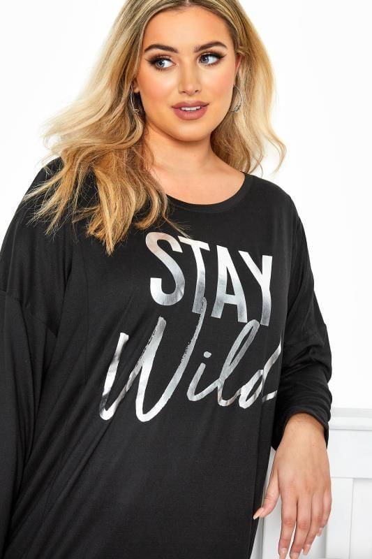 Black & Grey 'Stay Wild' Animal Print Lounge Set