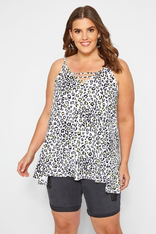 White Leopard Print Swing Vest Top