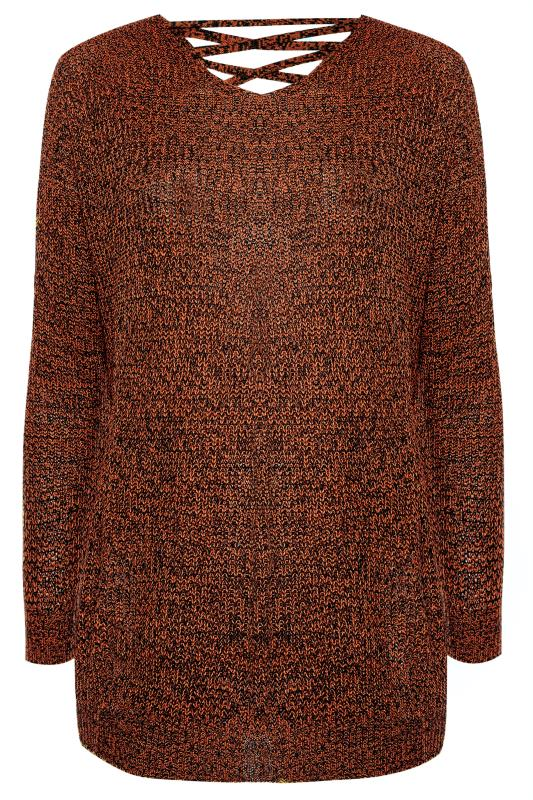 Rust Lattice Back Twist Knit Jumper