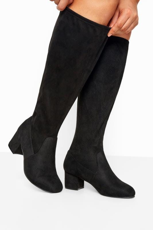 Plus Size Beauty Black Stretch Faux Suede Knee High Boots In Extra Wide Fit