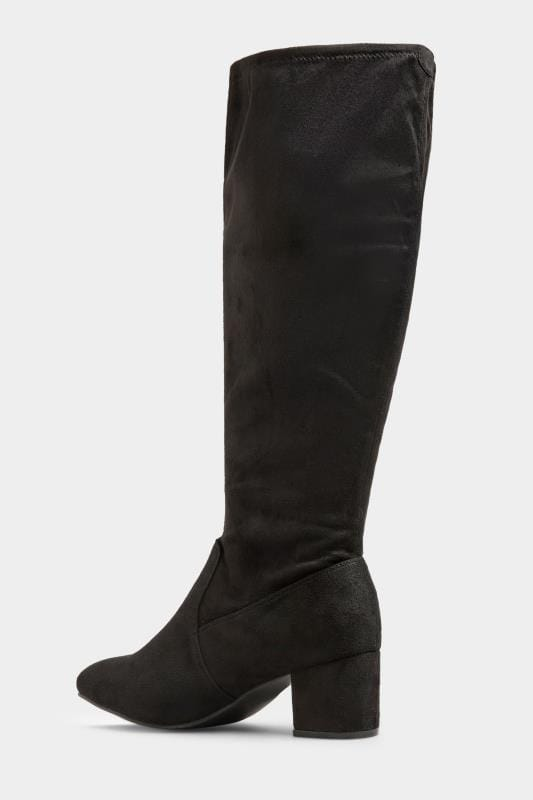 Black Stretch Faux Suede Knee High Boots In Extra Wide Fit