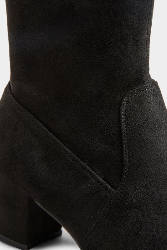 Instaplaarzen van imitatiesuède met XL kuitmaat in zwart