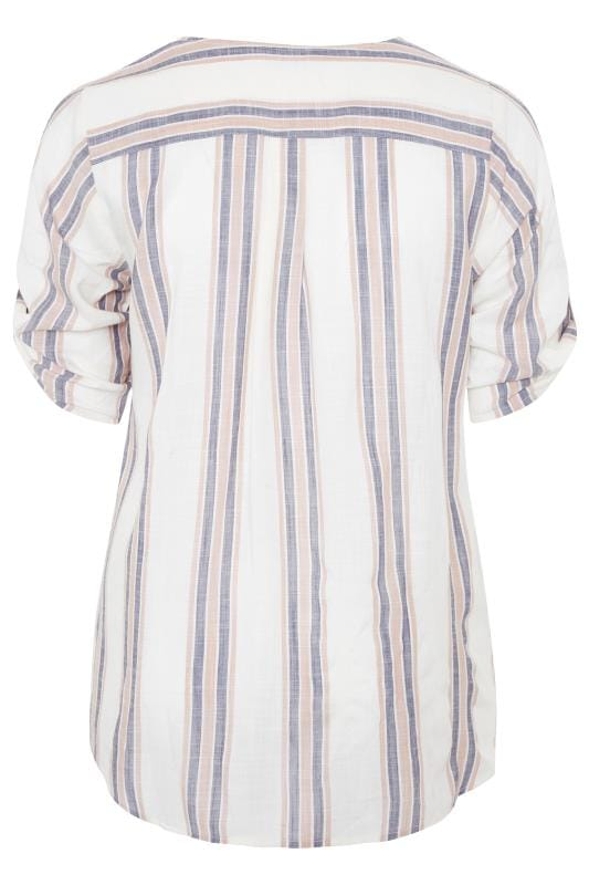 Off White Striped Embellished Tie Front Shirt