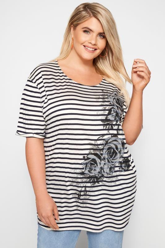 White & Navy Striped Rose T-Shirt