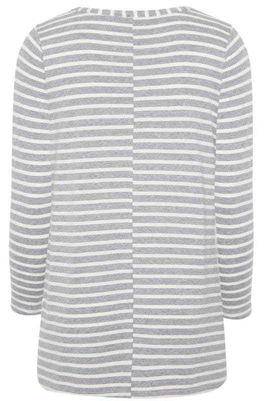Grey & White Striped Jersey Top