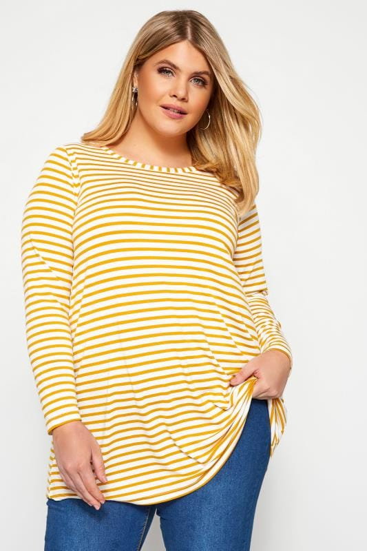 Plus Size Day Tops Yellow & White Striped Jersey Top