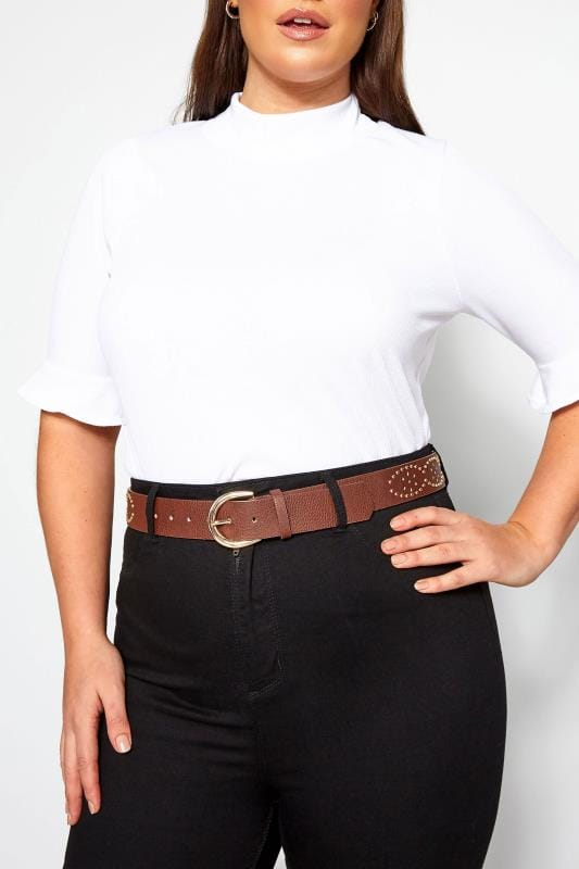 Plus Size Belts Brown Studded Belt