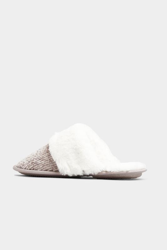 Chenille pantoffels met sierstrik in grijs