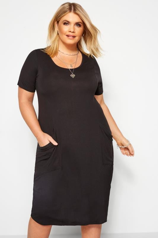 Großen Größen Black Dresses SUSTAINABLE ORGANIC Black Drape Pocket Dress