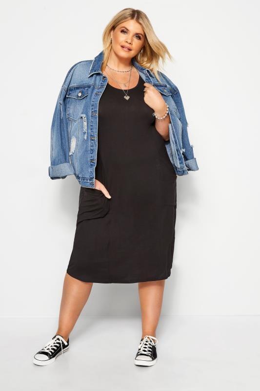 Plus Size Black Dresses SUSTAINABLE ORGANIC Black Drape Pocket Dress