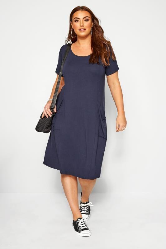 SUSTAINABLE ORGANIC Navy Drape Pocket Dress