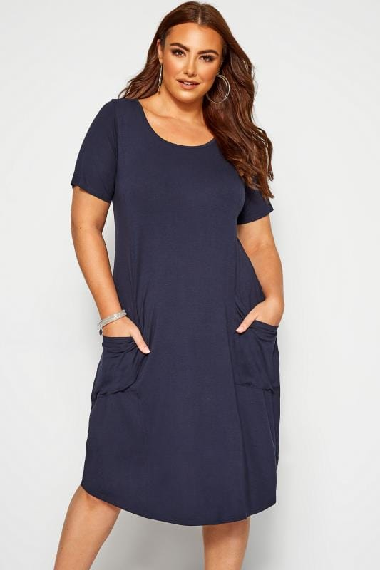 Plus Size Casual Dresses SUSTAINABLE Navy Drape Pocket Dress