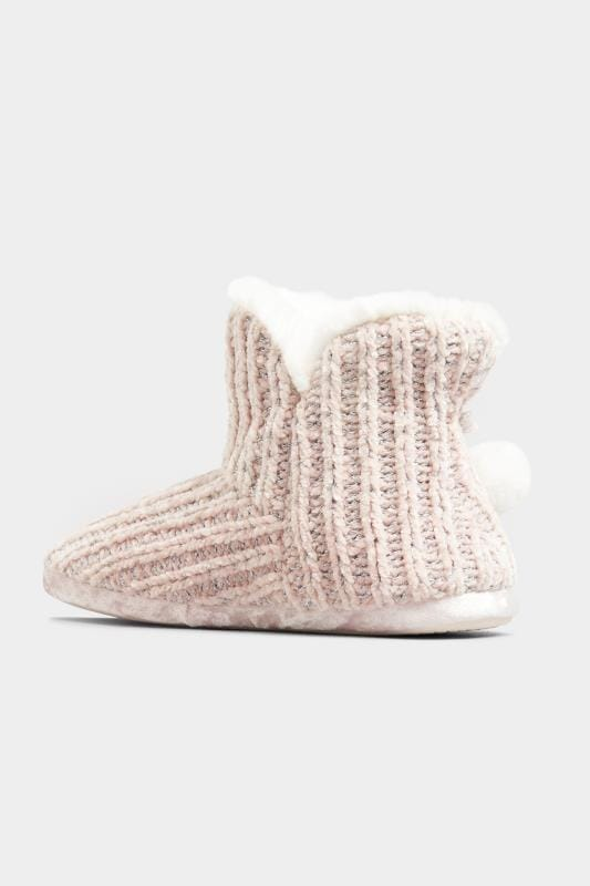 Pink Metallic Chenille Knitted Pom Pom Slipper Boots In Wide Fit