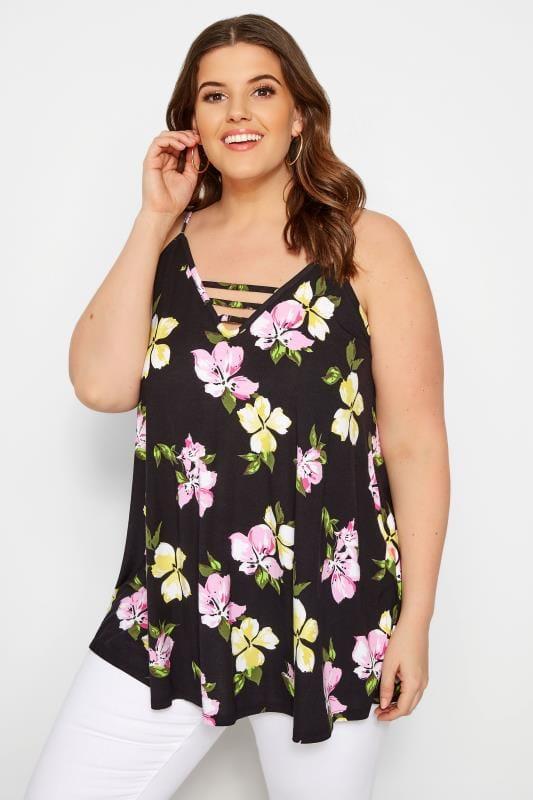 Black Floral Swing Vest Top