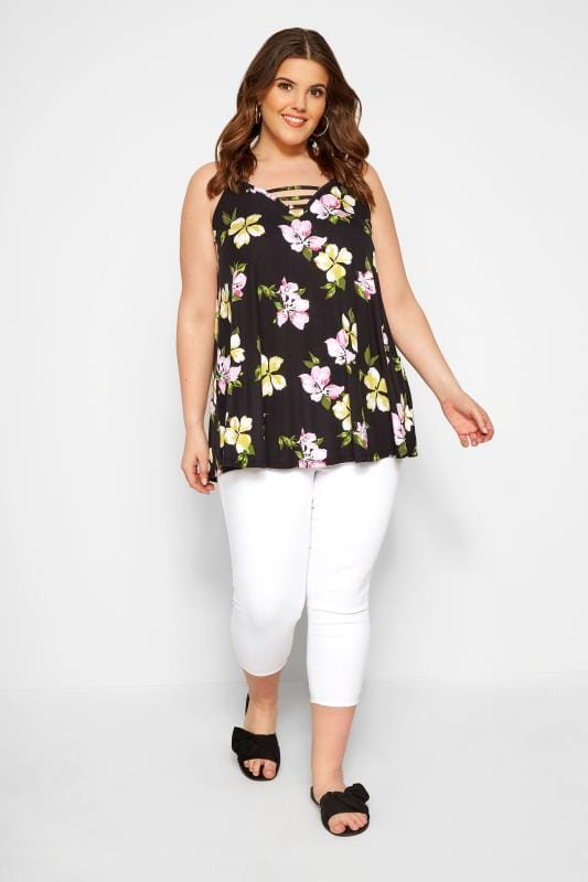 Black Floral Swing Vest Top