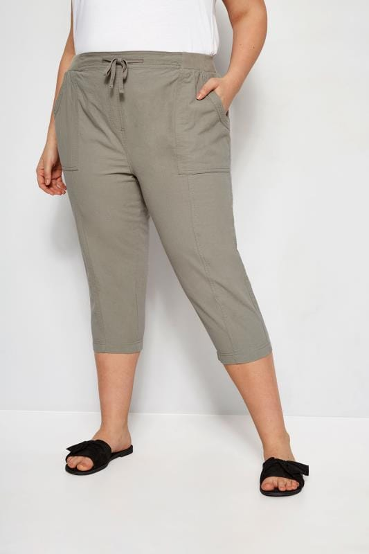 Plus Size Capri Pants Sage Green Cool Cotton Cropped Trousers