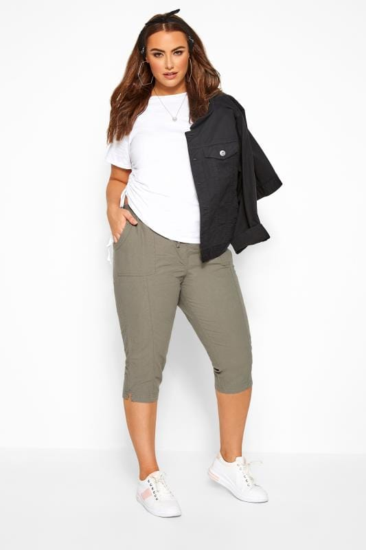 Cropped Trousers Sage Green Cool Cotton Cropped Trousers