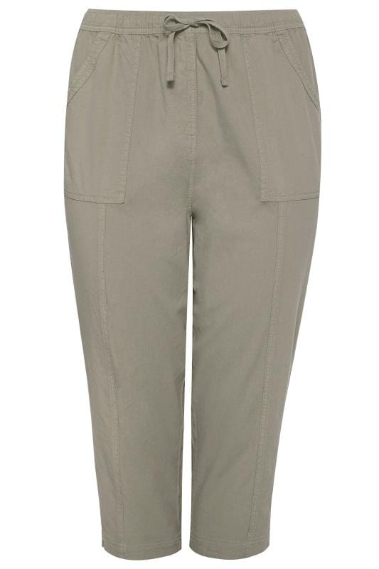 Sage Green Cool Cotton Cropped Trousers