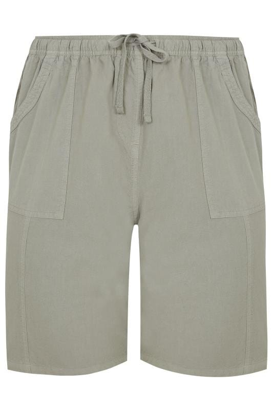 Sage Green Cool Cotton Pull On Shorts_3659.jpg