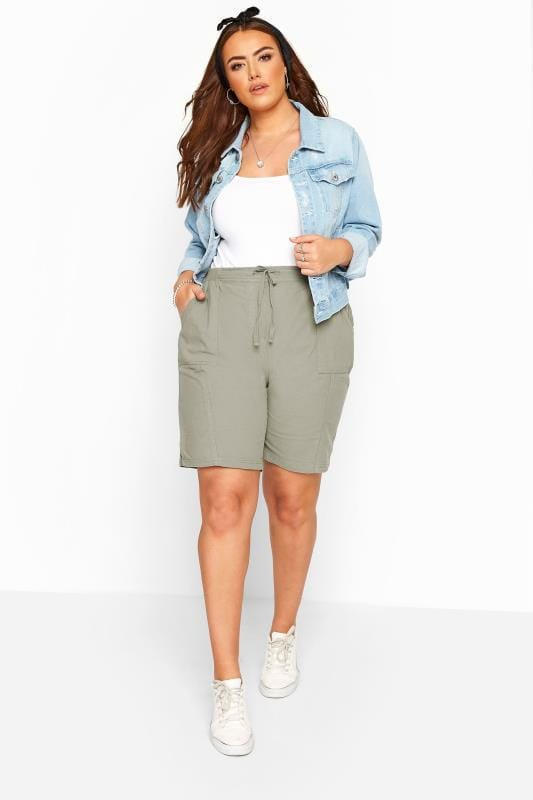 Plus Size Cool Cotton Shorts Sage Green Cool Cotton Pull On Shorts