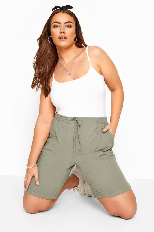 Sage Green Cool Cotton Pull On Shorts_864b.jpg