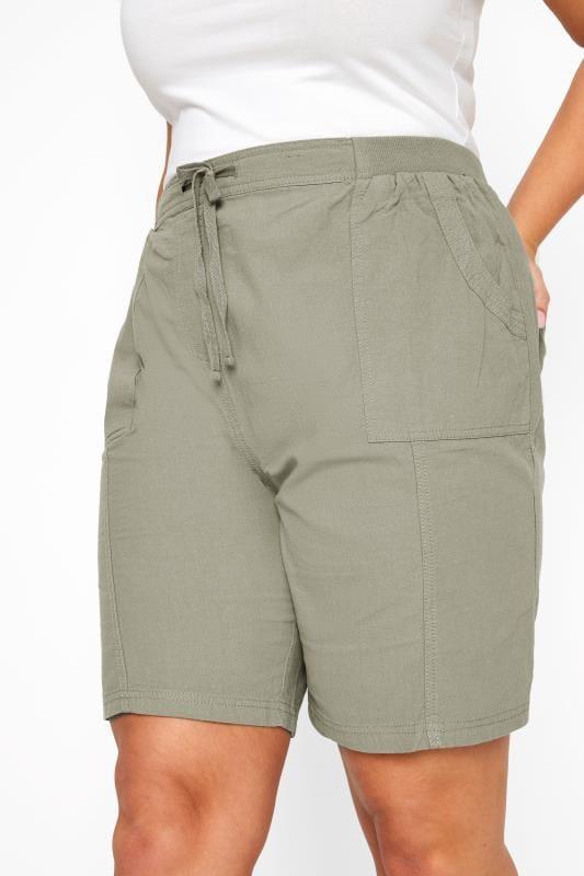 Sage Green Cool Cotton Pull On Shorts_9b1f.jpg